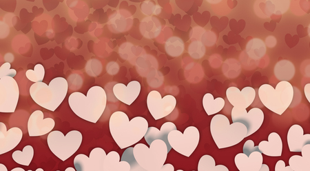 White paper hearts on abstract background, valentines card (3d render) Stockfoto