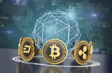 crypto-monnaies disposées en cercle avec une sphère filaire et une carte du monde sur fond (rendu 3d)