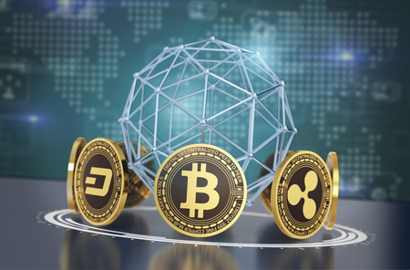 crypto currencies arranged in a circle with a wireframe sphere and a world map on background (3d render)