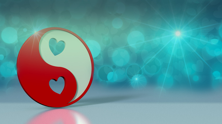 yin and yang symbol with hearts on reflective floor and shiny background, valentines card (3d render)