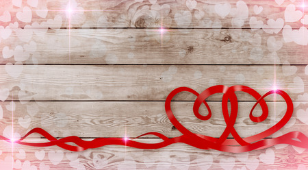 valentine card with two ribbons in the shape of a heart on wooden background (3d render)