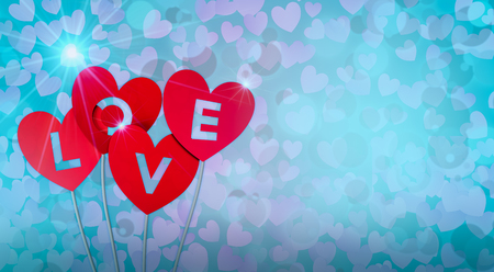 red paper hearts with text; love, valentines card (3d render)