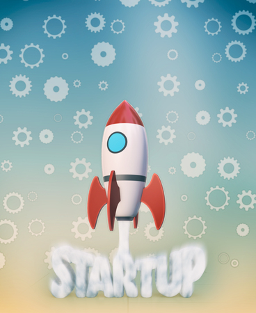 the launch of a rocket with cogwheels on background, concept of startup (3d render) Stock Photo