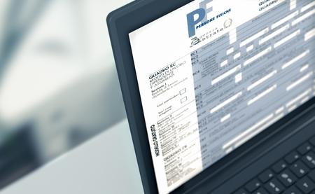 Primer plano de una computadora portátil con un formulario de impuestos en la pantalla, concepto de presentación de impuestos en línea (render 3d) Foto de archivo