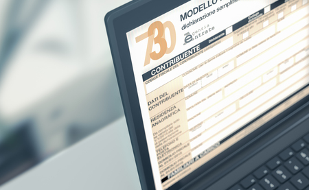 closeup of a computer laptop with a tax form on screen, concept of online tax filing (3d render) Stok Fotoğraf
