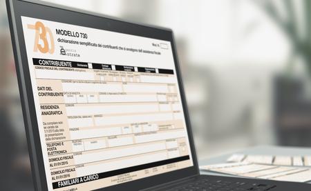 Libre d'un ordinateur portable avec un formulaire d'impôt à l'écran, concept de déclaration de revenus en ligne (rendu 3D) Banque d'images