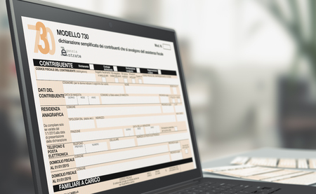 closeup of a computer laptop with a tax form on screen, concept of online tax filing (3d render) Archivio Fotografico