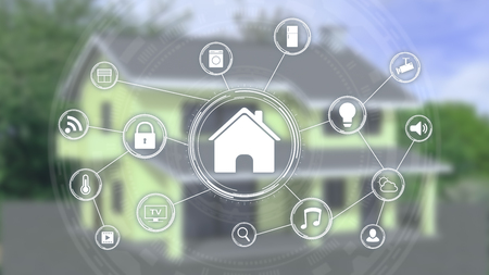 futuristic smart home interface with a network of icons and a blurred house on background (3d render)