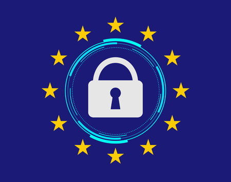 circular hud with a padlock and twelve stars around it, symbol of european union flag, concept of general data protection regulation GDPR
