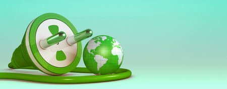one power plug with a small earth globe, concept of green energy and environment pollution, copyspace (3d render)