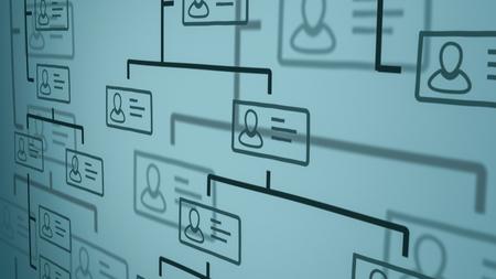 Vista de cerca de un organigrama de la empresa en una pizarra. estilo dibujado a mano