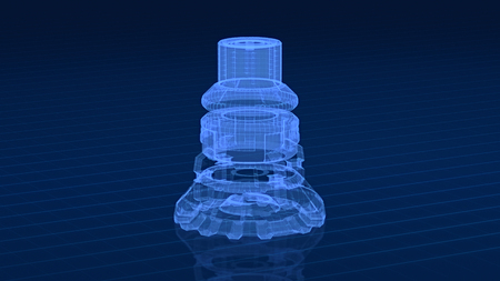 close up view of a mechanical component, wireframe style (3d render) Imagens
