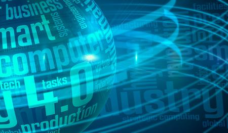 sfera mappata con una nuvola di parole, concetto di industria 4.0 (render 3d)