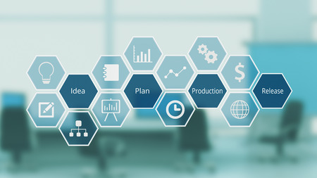 hexagon grid with icon and keywords about project management and life cycle, corporate office on background