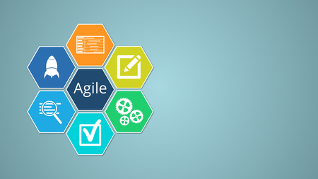 agile project management chart made with hexagons, copy space