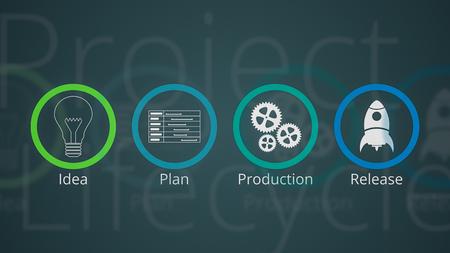 projectlevenscyclus met pictogrammen voor de stappen, 2D-platte stijl Stockfoto
