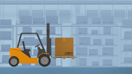 autonomous driving forklift with a carton box, concept of warehouse automation and industry 4.0, low poly cartoon style (3d render) Banque d'images - 116297678