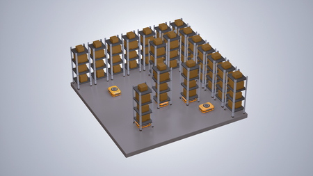 robots carrying shelves on a warehouse, concept of automation and industry 4.0 (3d render)