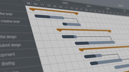 closeup view of a project management gantt chart (3d render)
