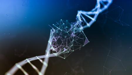 Vista cercana de una doble hélice de adn, daño en el adn, concepto de trastorno o mutación genética (render 3d) Foto de archivo