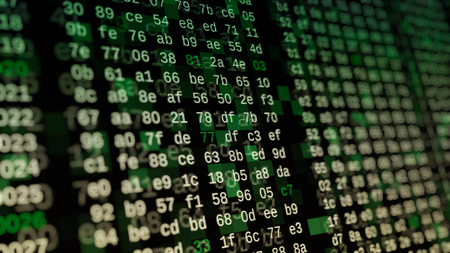 close up view of a computer screen with hexadecimal code, concept of hacking, internet, big data, software developing (3d render)