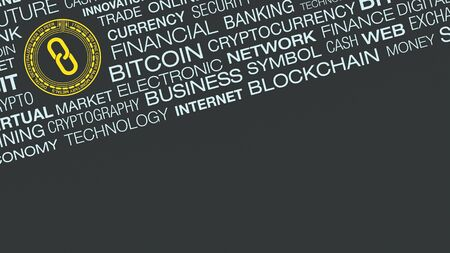 word cloud about cryptocurrency concept, copy space