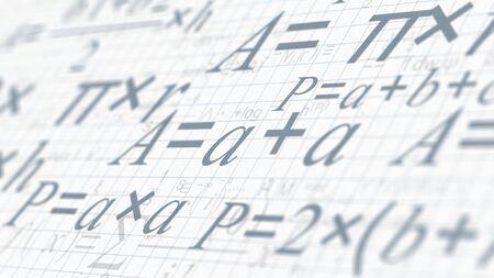 mathematische Formeln, Konzept von Wissenschaft und Forschung (3D-Rendering)