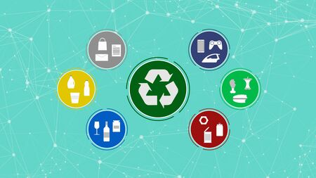 circular huds with icons of different materials and objects, at the center the symbol of recycling, concept of waste and recycling