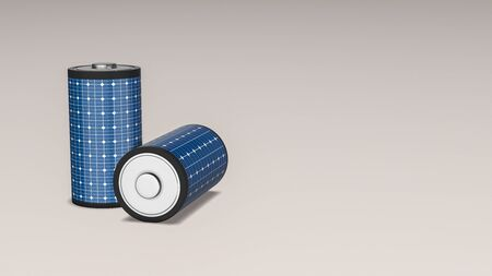 two batteries covered with solar panels, concept of renewable energy, copy space (3d render)