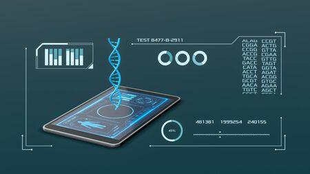 Tablet PC con un holograma de una hélice de adn y una interfaz de software futurista, concepto de ciencia, biología y tecnología (render 3d)