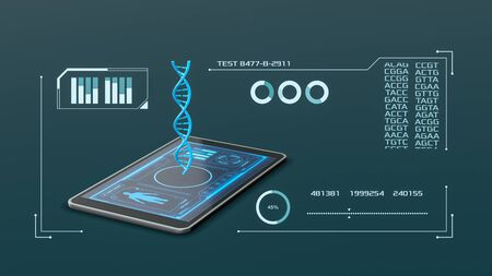tablet pc with an hologram of a dna helix and a futuristic software interface, concept of science, biology and technology (3d render)