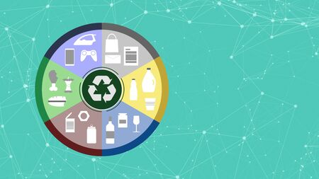 circle with icons of different materials and objects, at the center the symbol of recycling, concept of waste and recycling, copy space Reklamní fotografie