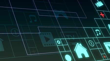 futuristic grid with icons about the smart home and IoT concepts Stock Photo