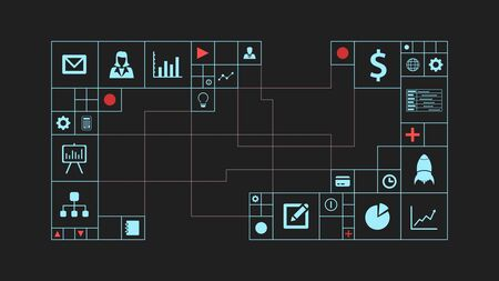 front view of a futuristic grid with icons about business and finance, conceptof global and moderm business