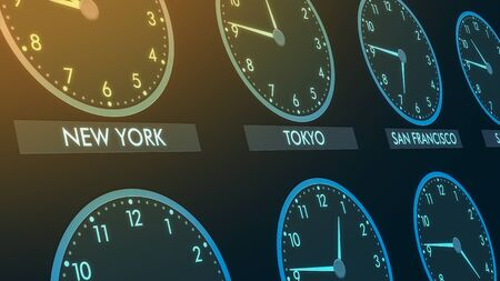 Close up view of a wall of clocks with time of different cities Stock Photo