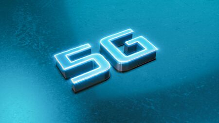 5G symbol, concept of new technology and fast network speed Stock Photo