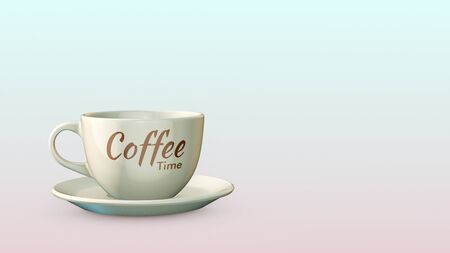 cup of coffee, label with text: coffee time, copy space (3d render)