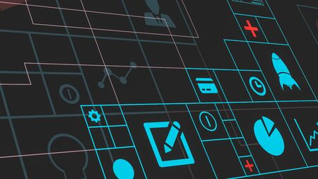 closeup view of a futuristic grid with icons about business and finance (3d render)