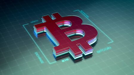futuristic bitcoin symbol, concept of crypto currency (3d render)