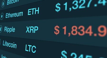 digital display with exchange rate of cryptocurrency (3d render)