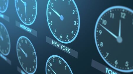 close up view of a wall of clocks with time of different cities (3d render)