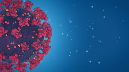 coronavirus, covid-19 microscope view, close-up view, pandemic danger, copy space (3d render) Stock Photo