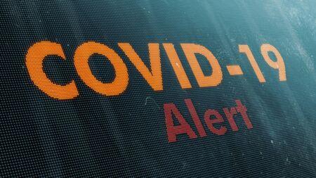 coronavirus, covid-19, dirty alert banner, close-up view (3d render) Stock Photo