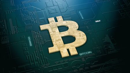 electronic circuit with a golden bitcoin symbol, concept of crypto currency and mining (3d render) Stock Photo