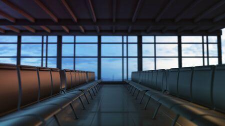 empty airport waiting room (3d render)
