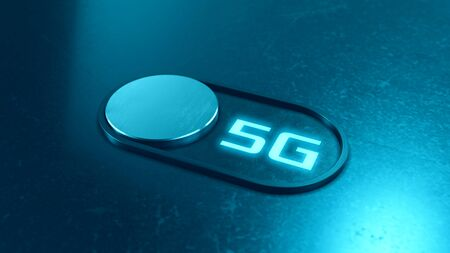 switch with 5g label, concept of fast network speed and new technology (3d render)