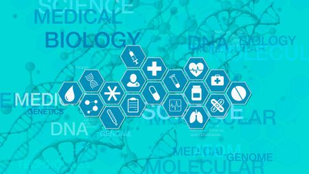 medical scientific concept, hexagon grid with icons related to medicine and research, dna helix and molecular structure on background (3d render)