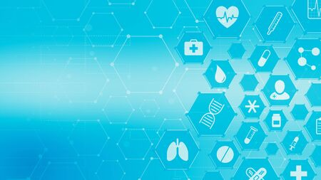 medical scientific concept, hexagon grid with icons related to medicine and research, copy space (3d render) Stock Photo