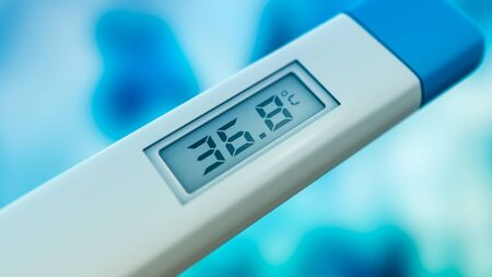 close-up of a body thermometer, temperature is normal, celsius (3d render)