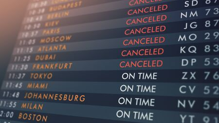 close-up of an airport departures board with flights from on time to canceled (3d render)